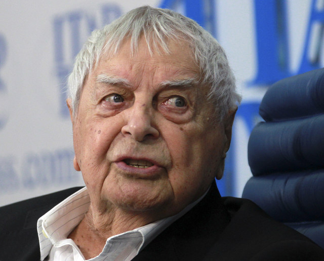 Yuri Lyubimov, 93, art director and the founder of the Taganka Theater speaks during a news conference in Moscow, in this Thursday, June 30, 2011 file photo.  Lyubimov died Sunday Oct. 5, 2014 at  ...