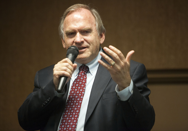 In this May 3, 2014 file photo, Gary King speaks during the Democratic Party for New Mexico 2014 Governor Forum in Albuquerque, N.M. King and Republican Gov. Susana Martinez squared off Monday in  ...