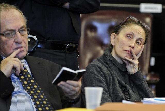 In this Dec. 23, 2011 file photo, Gigi Jordan, right, appears in Manhattan Supreme Court with her attorney Alan Dershowitz, Friday, Dec. 23, 2011, in New York. (AP Photo/ Louis Lanzano, Pool)