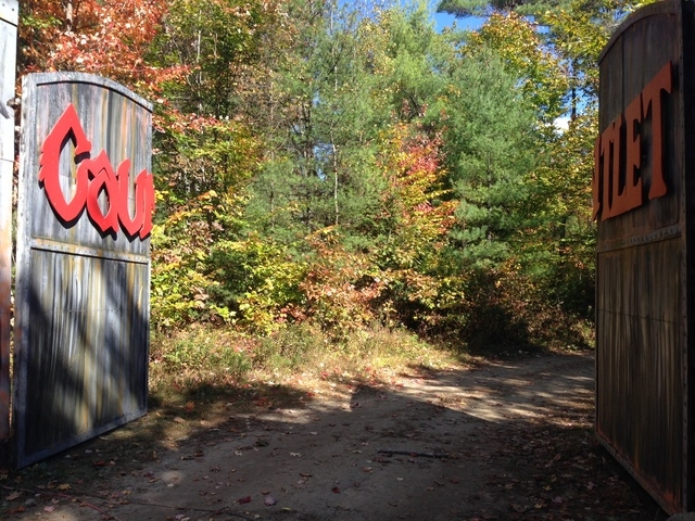 Gates that lead to the Gauntlet Haunted Night Ride at Harvest Hills Farm in Mechanic Falls, Maine, were open Sunday, Oct. 12, 2014, although the farm was closed after a Halloween-themed hay ride a ...