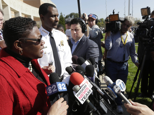 Gary, Indiana Mayor Karen Freeman-Wilson speaks at a news conference Monday, Oct. 20, 2015, in Hammond, Indiana. Police investigating the slayings of seven women whose bodies were found over the w ...