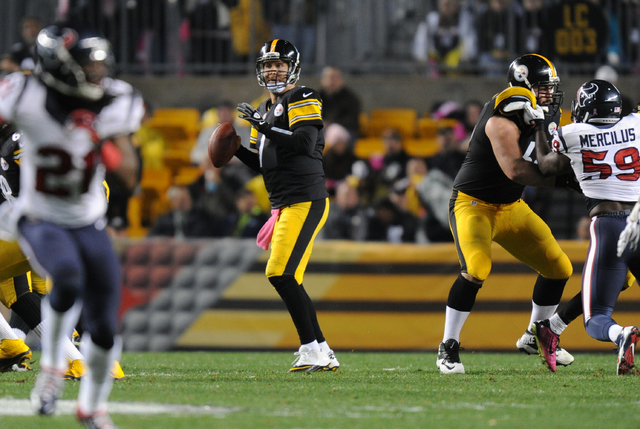 Pittsburgh Steelers quarterback Ben Roethlisberger (7) looks to pass in the third quarter of the NFL football game against the Houston Texans, Monday, Oct. 20, 2014 in Pittsburgh. (AP Photo/Don Wr ...