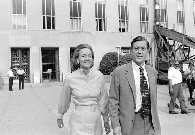 FILE - In this June 21, 1971 file photo, Washington Post Executive Director Ben Bradlee and Post Publisher Katharine Graham leave U.S. District Court in Washington. Bradlee died Tuesday, Oct. 21,  ...