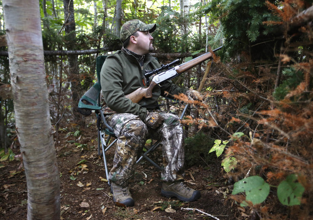 In this Friday, Sept. 19, 2014 photo, bear hunter James Cote of Farmington, Maine, keeps an eye on a bait site while sitting in a blind near Wilton, Maine. A Maine ballot question that will ask re ...
