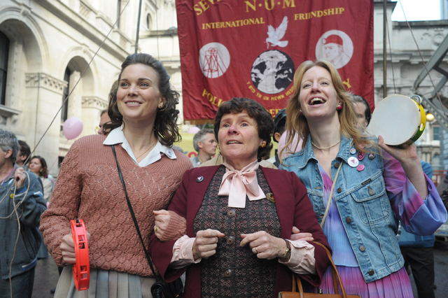 """This photo released by CBS Films shows, from left, Liz White as Margaret, Imelda Staunton as Hefina and Nia Gwynee as Gail in a scene from the film, """"Pride."""" (AP Photo/CBS Films, Nicola  ..."""