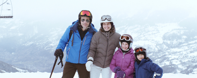 """This photo released by Magnolia Pictures shows, from left, Johannes Bah Kuhnke, Lisa Loven Kongsli, Clara Wettergren and Vincent Wettergren in a scene from the film, """"Force Majeure,"""" a M ..."""