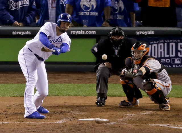 Kansas City Royals' Eric Hosmer watches his two run double during the second inning of Game 6 of baseball's World Series against the San Francisco Giants Tuesday, Oct. 28, 2014, in Kansas City, Mo ...
