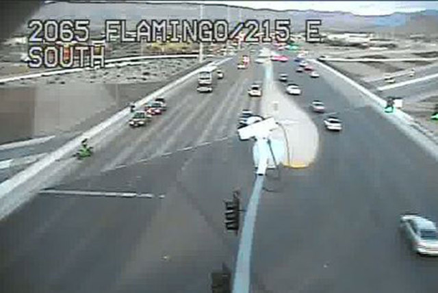 A driver fled the scene Wednesday morning after striking a motorcycle on eastbound 215 Beltway near Flamingo Road. (Courtesy/RTC, FAST cameras)