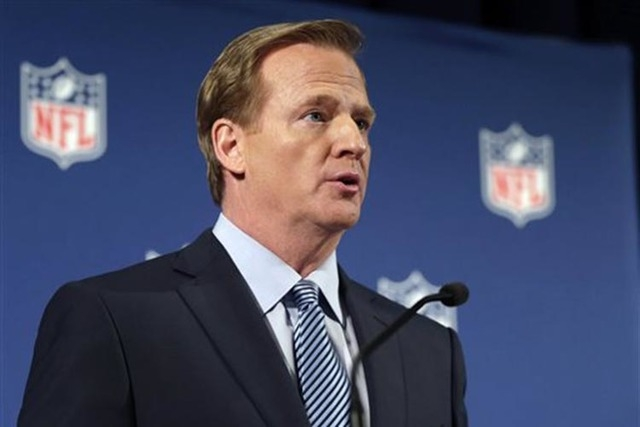 NFL Commissioner Roger Goodell speaks during a news conference Friday, Sept. 19, 2014, in New York. (AP Photo/Jason DeCrow)