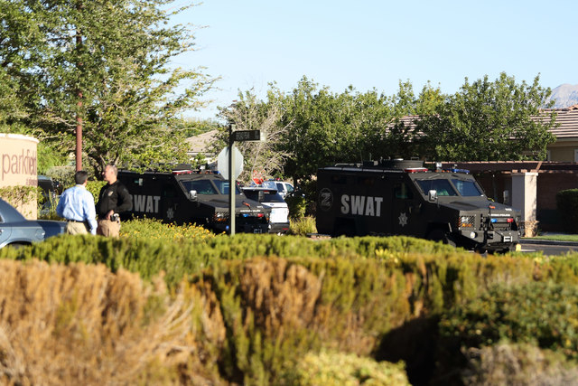 Las Vegas police and SWAT were on the scene of barricade incident Monday morning, Oct. 19, 2014, in the 8500 block of Berkley Hall Street in northwest Las Vegas. (Courtesy/Robert Pernett)