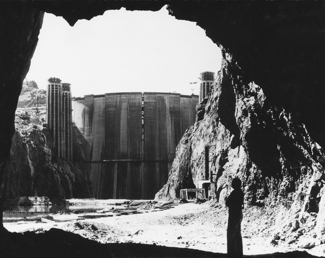 "Upstream face of Hoover Dam as seen from a water diversion tunnel on the Nevada side of Black Canyon on Feb. 27, 1935. (PHOTO COURTESY FROM THE BOOK ""A PICTORIAL HISTORY OF HOOVER DAM"")"