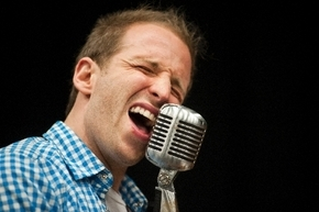 "Martin Kaye, who plays Jerry Lee Lewis in ""Million Dollar Quartet,"" sings during a rehearsal."
