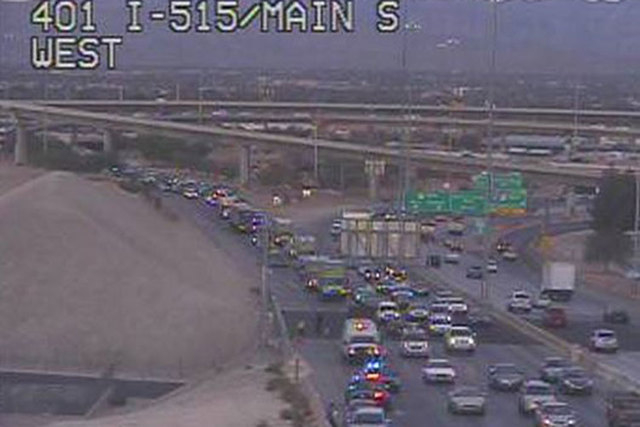 Traffic is being slowed on southbound U.S. Highway 95 just south of the Interstate 15 interchange after a two-vehicle crash Wednesday morning. (Courtesy/RTC FAST Cameras)