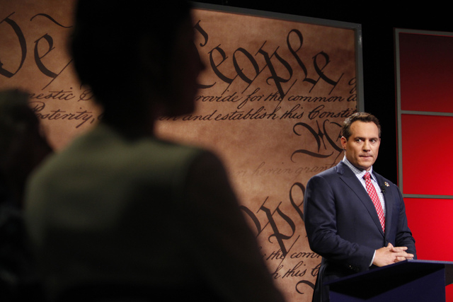 Nevada attorney general candidate Ross Miller participates during a debate against his opponent, Adam Laxalt, at Vegas PBS in Las Vegas Friday, Oct. 10, 2014. The candidates discussed issues that  ...