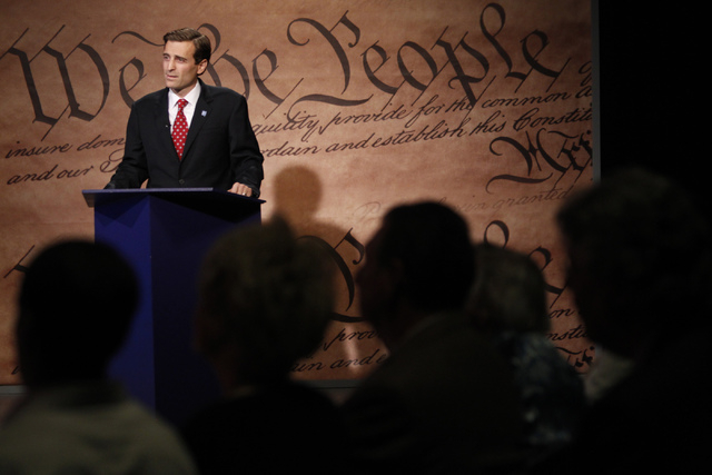 Nevada attorney general candidate Adam Laxalt participates during a debate against his opponent Ross Miller at Vegas PBS in Las Vegas Friday, Oct. 10, 2014. The candidates discussed issues that in ...