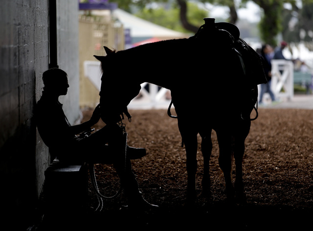 A pony rider waits for the start of the Breeders Cup horse races Friday, Oct. 31, 2014, at Santa Anita Park in Arcadia, Calif. (AP Photo/Jae C. Hong)