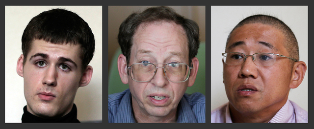 Jeffrey Fowle, center, an American detained in North Korea since May, was released on Tuesday, Oct. 21, 2014. Two other Americans, Mathew Miller, left, and Kenneth Bae, right, are still being held ...