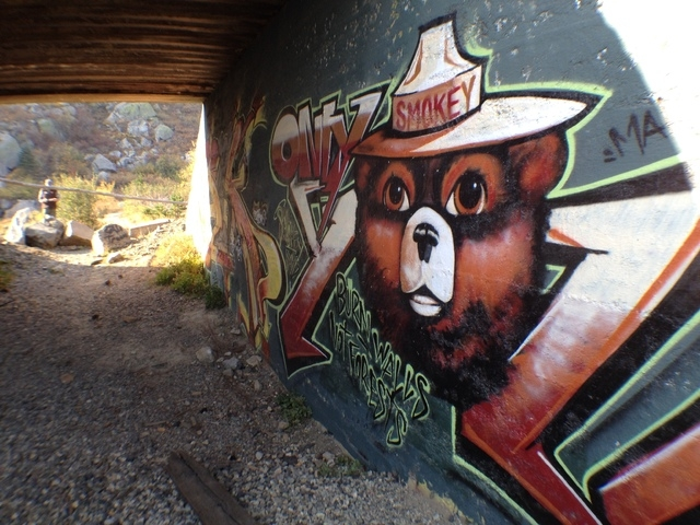 In this photo taken Sept. 24, 2014, a graffiti mural shown  an underpass where the Lincoln Highway passes beneath what was once the Transcontinental Railroad line near Truckee, Calif. Built in the ...