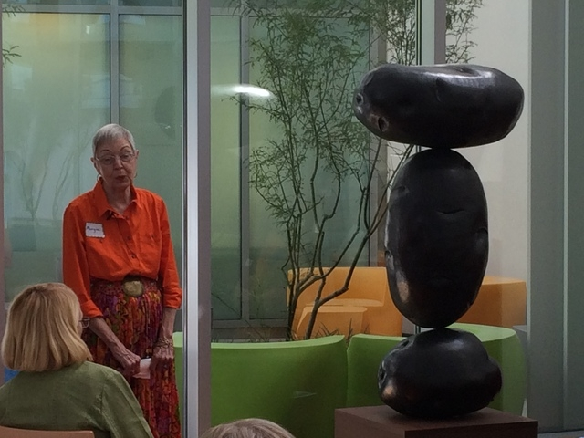 "Margie Walton, volunteer docent, discusses the Charles Arnoldi bronze, ""Adios,"" with participants during a recent Art in the Afternoon program at the Cleveland Clinic Lou Ruvo Center for Brain Hea ..."