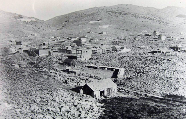 The once booming town of Aurora on the Nevada-California border was already falling into disrepair by the time this photo was taken in the early 1900s. Starting with a gold strike in 1860, Aurora  ...