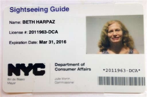 The Sightseeing Guide license issued by the New York City Department of Consumer Affairs for AP Travel Editor Beth J. Harpaz. To get a license, you must pass a 150-question test on everything from ...
