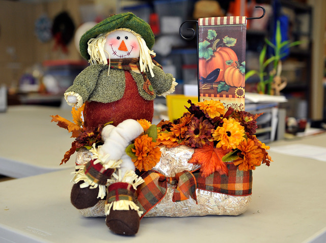 An autumn arrangement is displayed at the Children's Service Guild workshop at Child Haven in Las Vegas on Friday, Sept. 26, 2014. The seasonal craft, along with many others, will be for sale at t ...