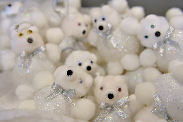 White bear tree ornaments are displayed at the Children's Service Guild workshop at Child Haven in Las Vegas on Friday, Sept. 26, 2014. The seasonal crafts, along with many others, will be for sal ...