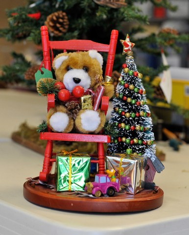 A holiday arrangement is displayed at the Children's Service Guild workshop at Child Haven in Las Vegas on Friday, Sept. 26, 2014. The seasonal craft, along with many others, will be for sale at t ...
