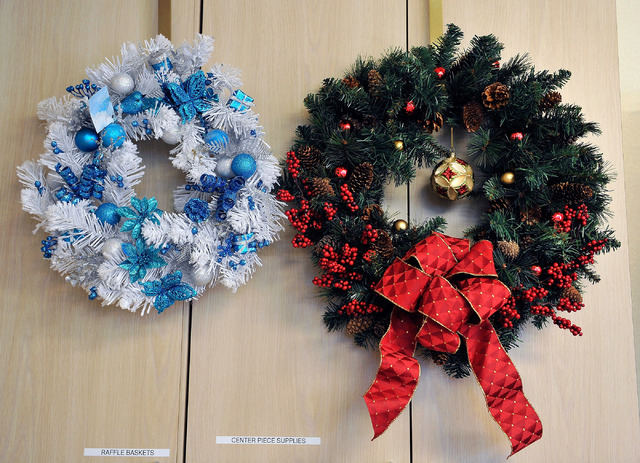 Holiday decorations are displayed at the Children's Service Guild workshop at Child Haven in Las Vegas on Friday, Sept. 26, 2014. The seasonal crafts, along with many others, will be for sale at t ...