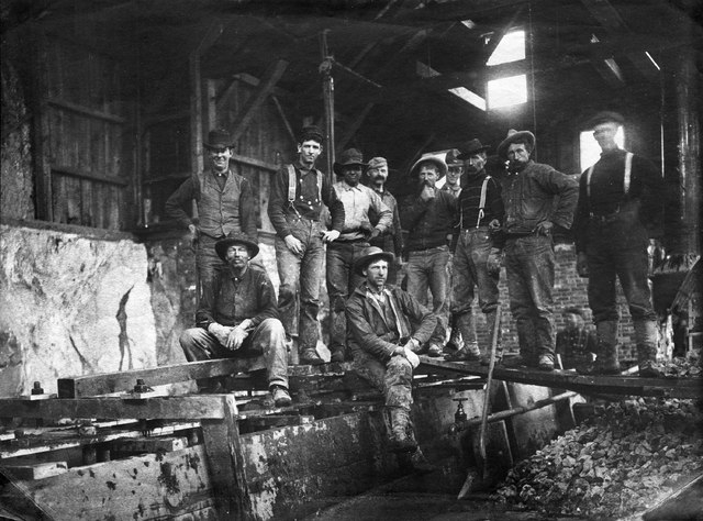 Billeb-Aurora-023 Cain Consolidated Mill, mining crew, ca. 1880s or possibly 1890s; town scene, RRP.  Credit: Emil Billeb Collection, Nevada Historical Society