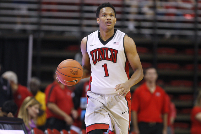 UNLV guard Rashad Vaughn takes the ball up court during the annual Scarlet and Gray scrimmage, Thursday, Oct. 16, 2014, at the Thomas & Mack Center. (Sam Morris/Las Vegas Review-Journal)