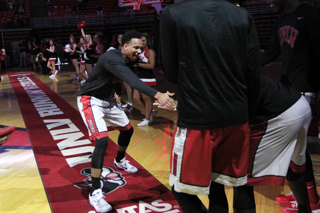 UNLV guard Rashad Vaughn greets teammates while being introduced during the annual Scarlet and Gray scrimmage, Thursday, Oct. 16, 2014, at the Thomas & Mack Center. (Sam Morris/Las Vegas Review-Jo ...