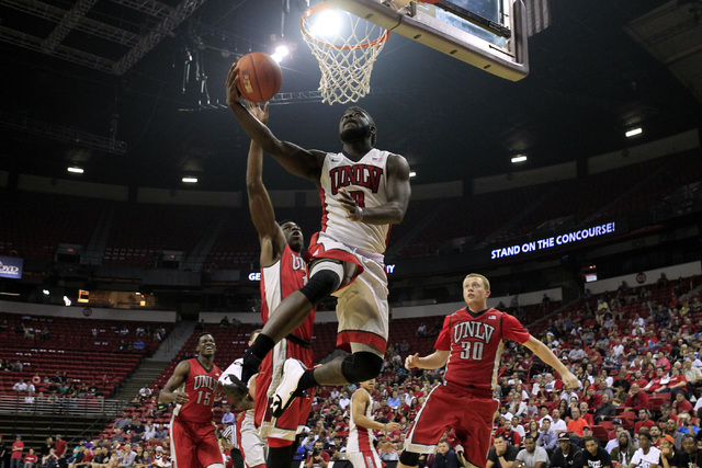 UNLV guard Jordan Cornish drives to the basket during the annual Scarlet and Gray scrimmage, Thursday, Oct. 16, 2014, at the Thomas & Mack Center. (Sam Morris/Las Vegas Review-Journal)
