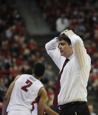 UNLV head coach Dave Rice reacts to his team's play against Colorado State during their basketball game at the Thomas & Mack Center in Las Vegas on Feb. 26, 2014. (Jason Bean/Las Vegas Review-Journal)