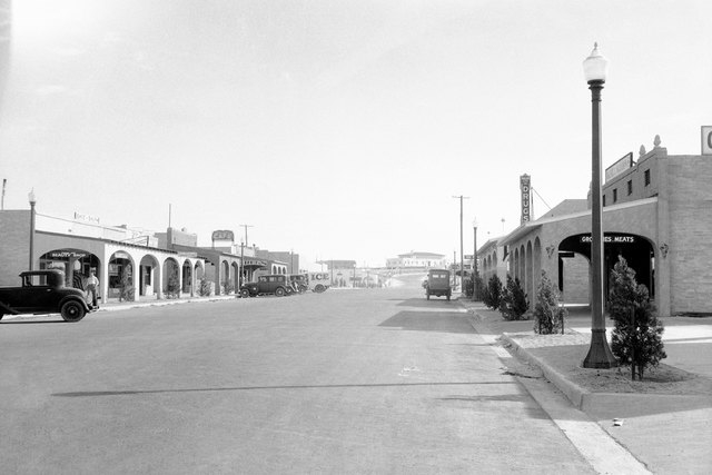 This is Main Street in Boulder City, Aug. 24, 1932, the model construction housing center for the workers on the huge Hoover Dam project. This city was constructed at a cost of $2,000,000. (AP Pho ...