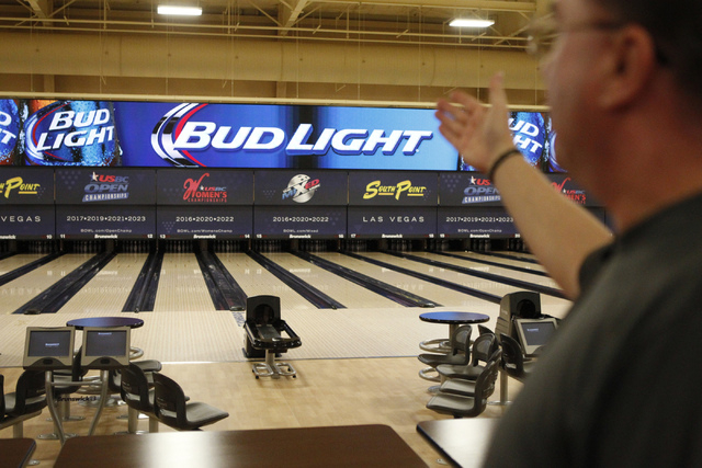 Director of bowling operations Mike Monyak gives a tour of the new South Point Bowling Plaza at South Point casino-hotel in Las Vegas Wednesday, Oct. 22, 2014. The bowling facility is scheduled to ...