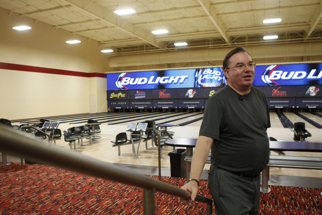 Director of bowling operations Mike Monyak is interviewed on the new South Point Bowling Plaza at South Point casino-hotel in Las Vegas Wednesday, Oct. 22, 2014. (Erik Verduzco/Las Vegas Review-Jo ...