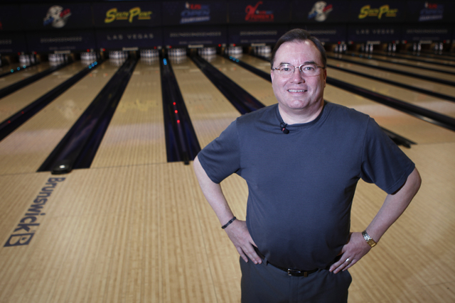 Director of bowling operations Mike Monyak poses for a portrait at the new South Point Bowling Plaza at South Point casino-hotel in Las Vegas Wednesday, Oct. 22, 2014. (Erik Verduzco/Las Vegas Rev ...