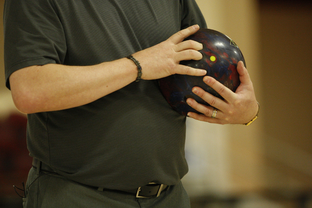 Director of bowling operations Mike Monyak gets ready to bowl at the new South Point Bowling Plaza at South Point casino-hotel in Las Vegas Wednesday, Oct. 22, 2014. (Erik Verduzco/Las Vegas Revie ...