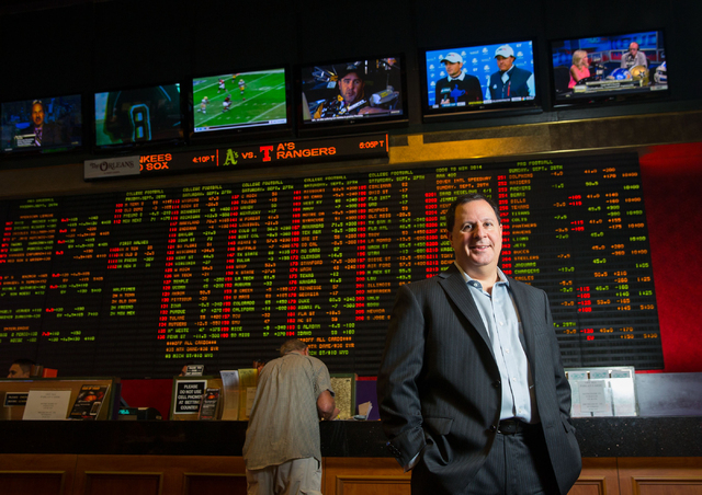 Bob Scucci, Boyd Gaming's director of race and sports books, poses at The Orleans Friday, Sept. 26, 2014. Boyd Gaming Corp. launched B Connected Sports, a sports wagering application for mobile de ...