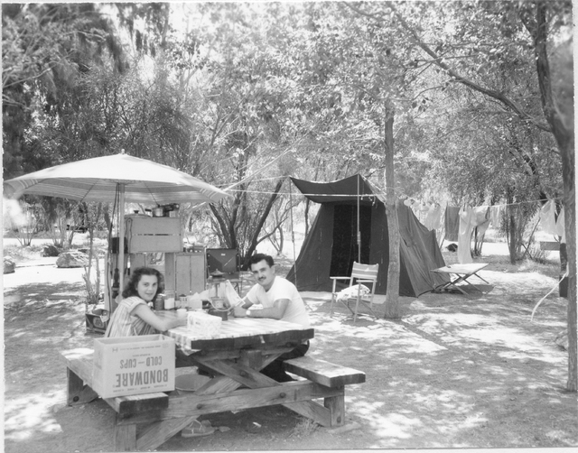 Camping at Boulder Beach, April 7, 1954, Mr. and & Mrs. John Hamuller pictured. Virtual Museum Historic Image, photo by O. Wallis