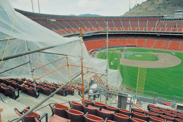 Workers repair concrete stairs at Candlestick Park in San Francisco on Oct. 22, 1989. The stadium was damaged by an earthquake on Oct. 17, 1989, just before the third game of the World Series. (AP ...