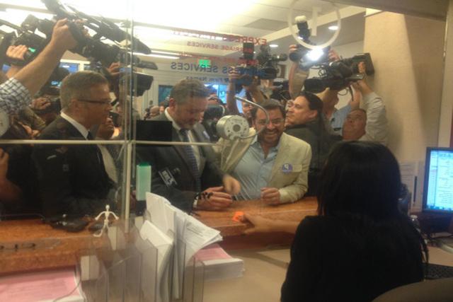 Las Vegas' first same-sex marriage license is issued on Thursday, Oct. 9, 2014. (@ClarkCountyNV/Twitter) (@ClarkCountyNV/Twitter)