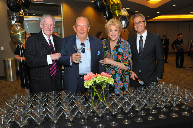Former mayor Oscar Goodman, from left, Robin Leach, Las Vegas Mayor Carolyn Goodman and Reed Cowan pose for a photo during the Blind Center of Nevada's Imagine Gala in Las Vegas, Saturday, Sept. 2 ...