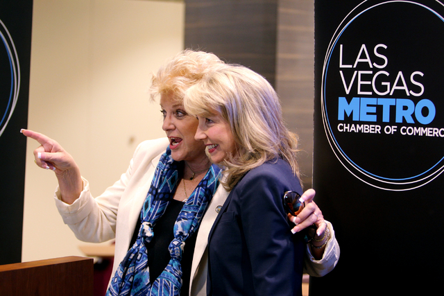Las Vegas Mayor Carolyn Goodman, left, and Kristin McMillan, president and CEO of the Las Vegas Metro Chamber of Commerce mingle during a ribbon-cutting ceremony for the new Chamber offices at The ...