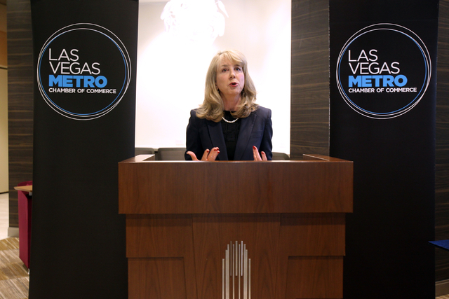 Kristin McMillan, president and CEO of the Las Vegas Metro Chamber of Commerce speaks during a ribbon-cutting ceremony for the new Chamber offices at The Smith Center for the Performing Arts on Mo ...