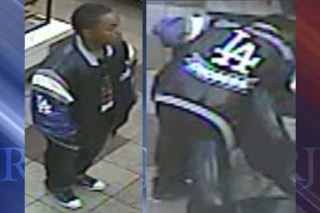 The man police are looking for took undisclosed items from a citizen just after 2 a.m., Oct. 7, 2014, at 333 E. Charleston Boulevard, near Las Vegas Boulevard. (Courtesy/Las Vegas Metropolitan Pol ...