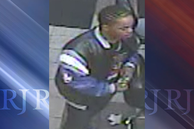 "The man police are looking for took ""undisclosed items"" from a citizen just after 2 a.m., Oct. 7, 2014, at 333 E. Charleston Boulevard, near Las Vegas Boulevard. (Courtesy/Las Vegas Metropolit ..."