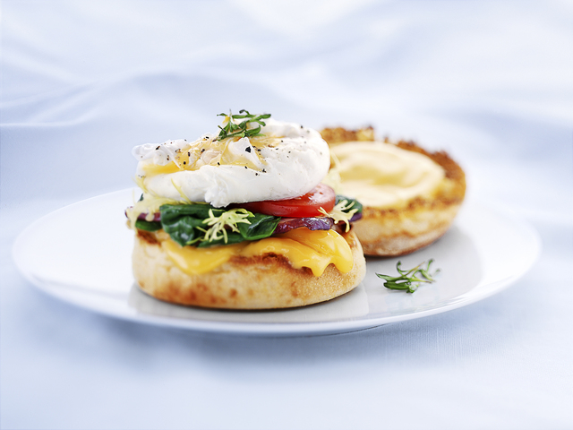 The Benedict includes classic poached egg. (Courtesy of the Wisconsin Milk Marketing Board, Inc.)
