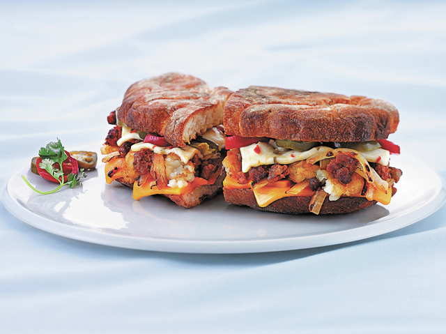 The Ranchero grilled cheese sandwich features Mexican chorizo and pepper jack cheese. (Courtesy of the Wisconsin Milk Marketing Board, Inc.)